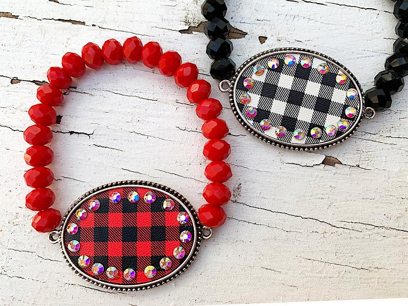 Penny Plaid Bracelet,PENNYPLDBRC-RED/BLK