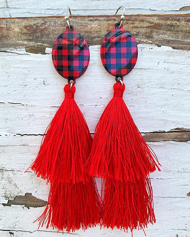 Paige Red Plaid Earrings,PAIGEPLDER-RED/BLK