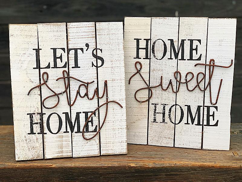 Home White Wash Wood Tabletop Sign,2476570-STAYHOME