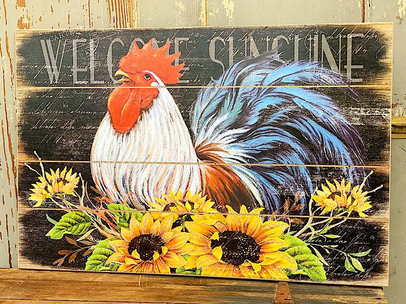 Welcome Sunshine Rooster Sign,2476470
