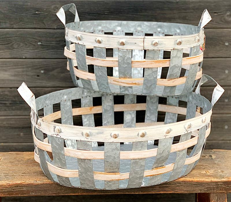 Galvanized Metal & Wood Basket,2475170-SMALL