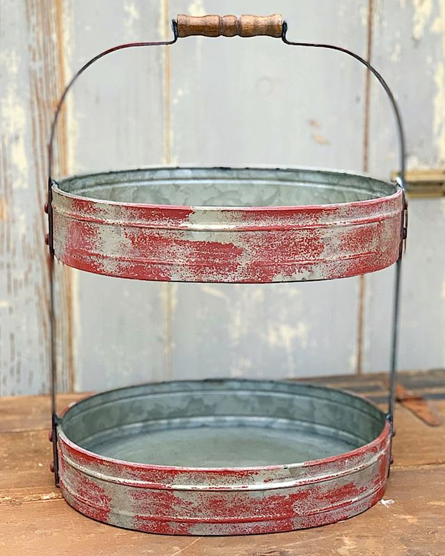 Red Metal Distressed 2-Tier Oval Tray,DA6876