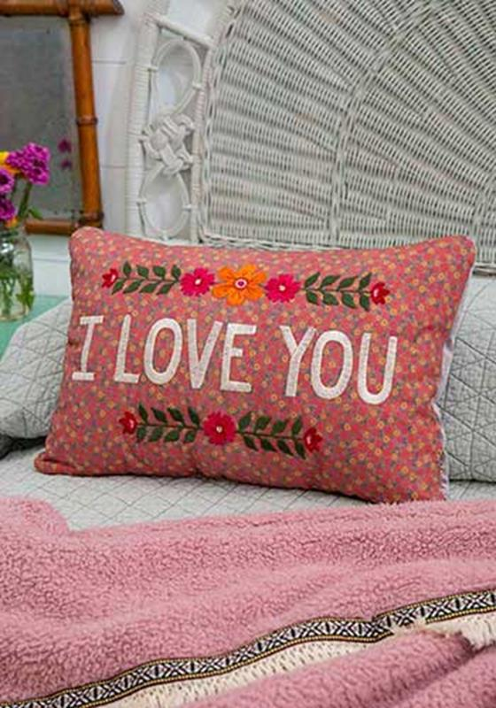 I Love You Embroidered Pillow,PLW127