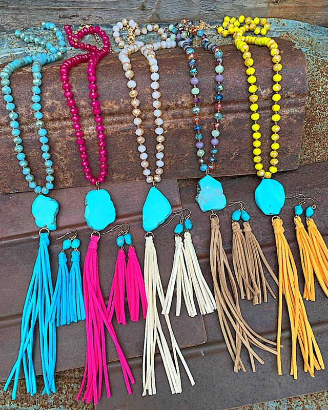 Thelma Tassel Necklace Set,THELMA-BLUE