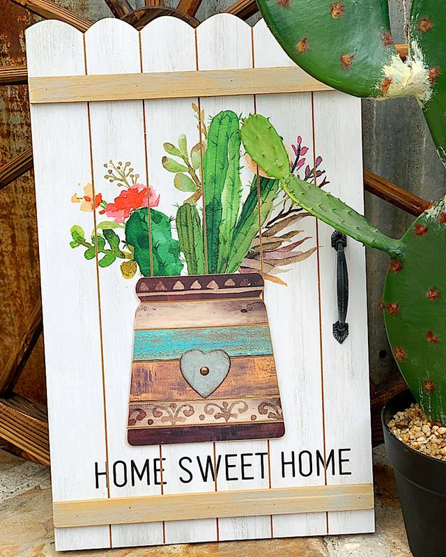 Home Sweet Home Cactus Sign,ER60102