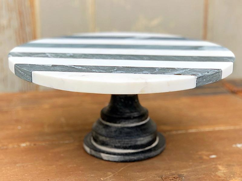 Black & White Stripe Marble Cake Stand,41320003