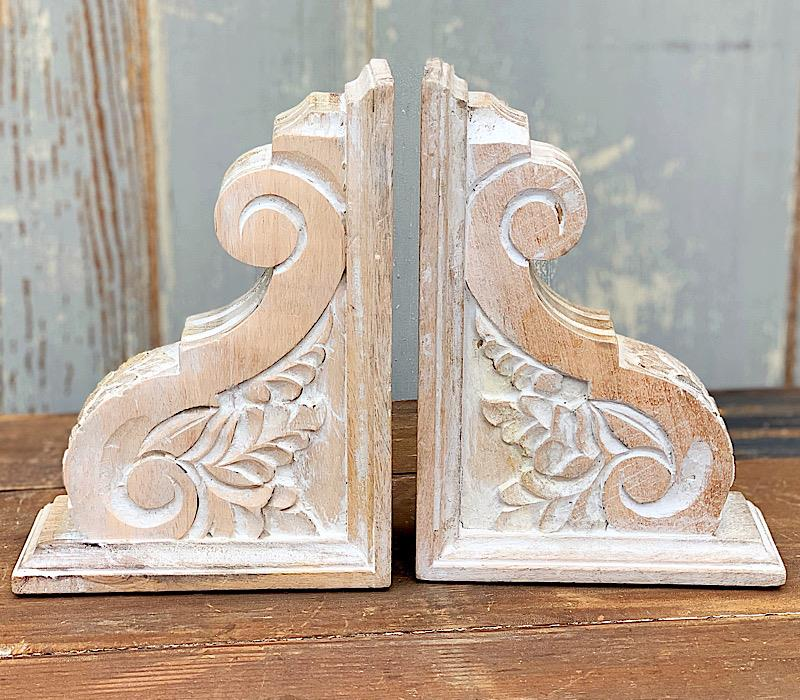 Carved Wood Bookend Set,42600231