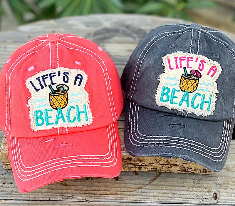 Life's A Beach Caps,BEACHCAP-GRAY