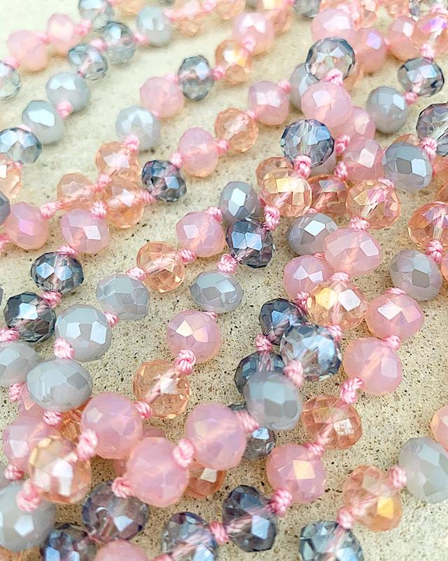 "Pink & Gray Mix Brea 60"" Beads,BREA-PINK/GRAY"