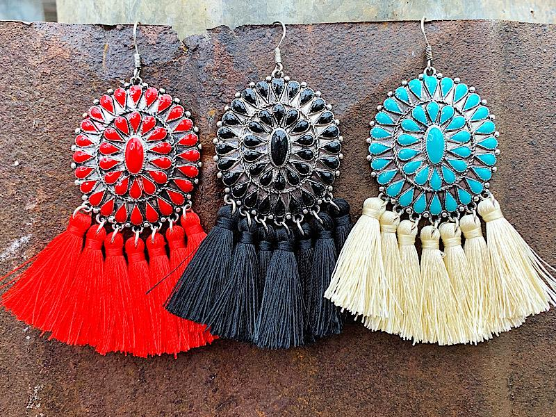Corie Tassel Earrings,CORIETASER-BLK