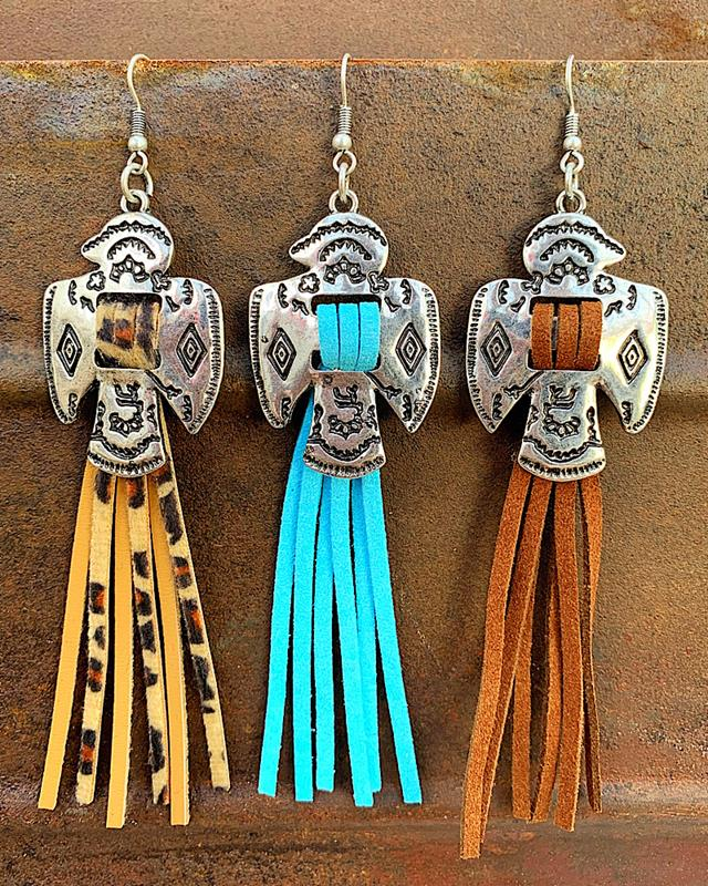 Thunderbird Tassel Earrings,TBIRDTASER-TURQ