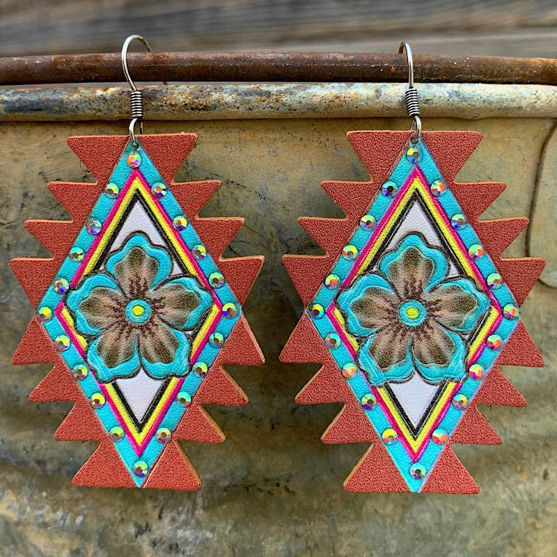 Mae Leather Earrings,MAELTHRER