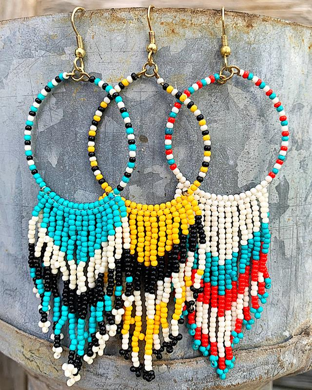 Fanny Beaded Earrings,FANNYBEAD-TURQ/BLK