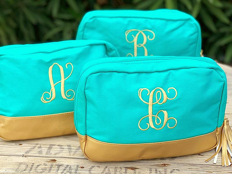 Mint Cabana Monogram Cosmetic Bag,M235VL-MINT-A