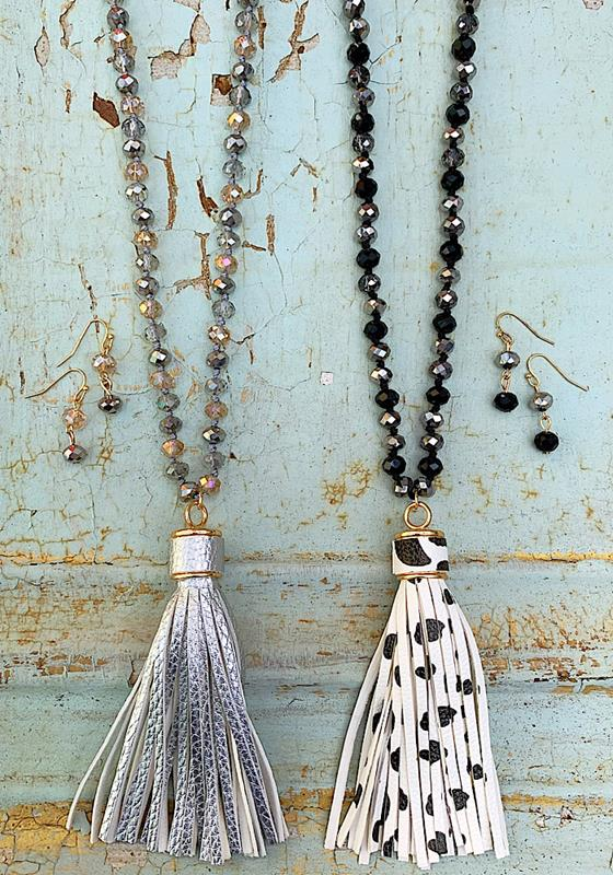 Halle Tassel Necklace Set,HALLESET-SPOTS