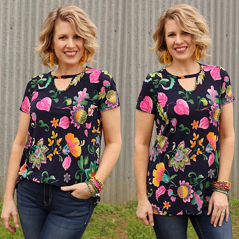 Nora Keyhole Top,T91205-SMALL
