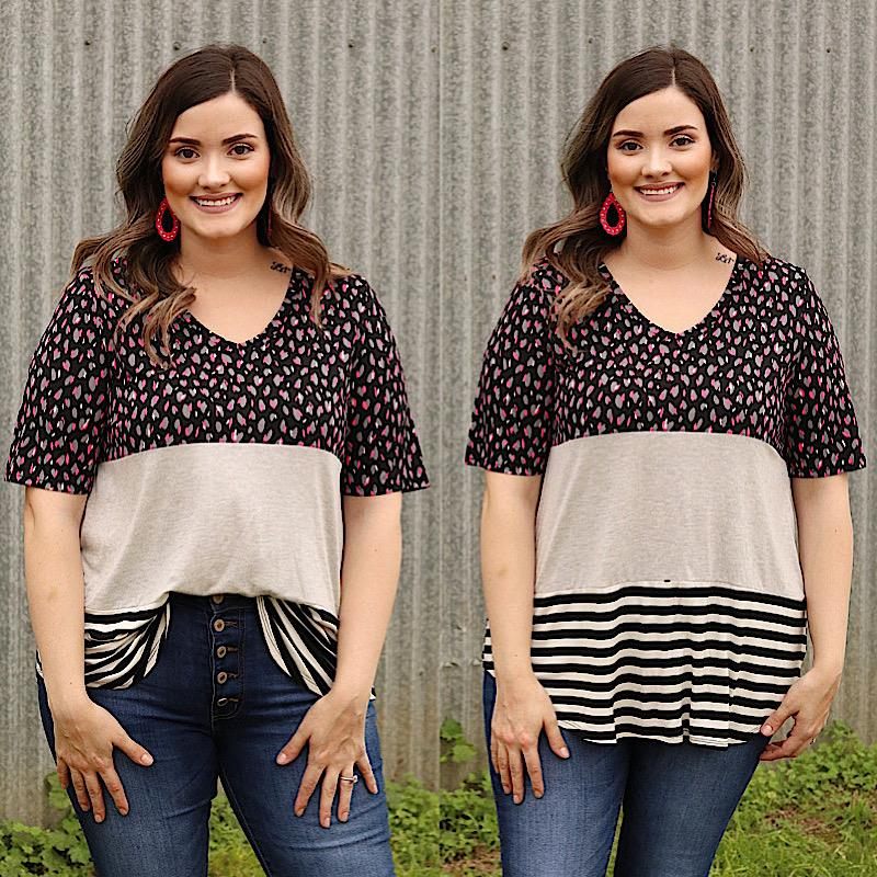 Charly Colorblock Top,T91093-1XL