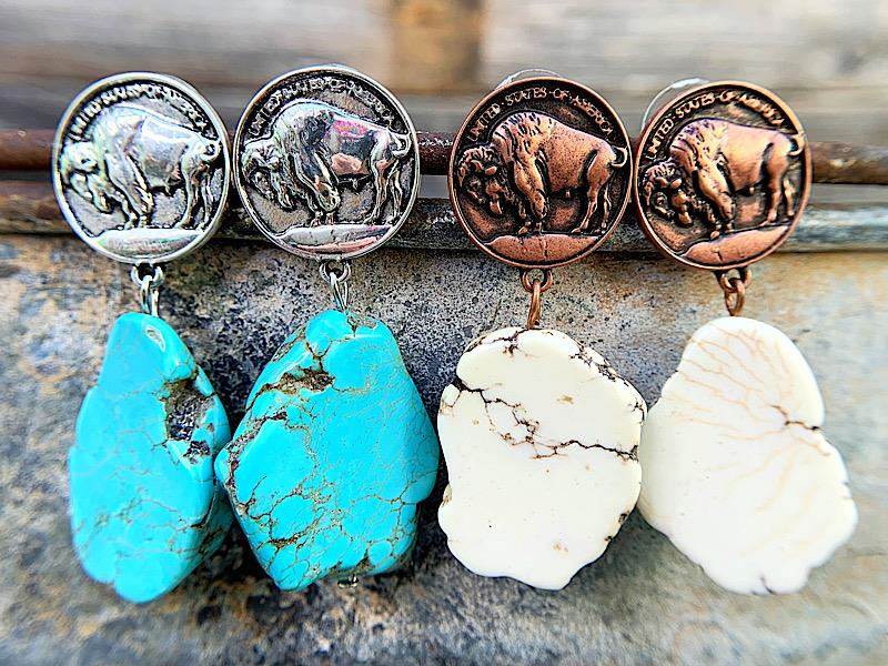 Buffalo Coin Earrings,BUFFALOCNER-TURQ