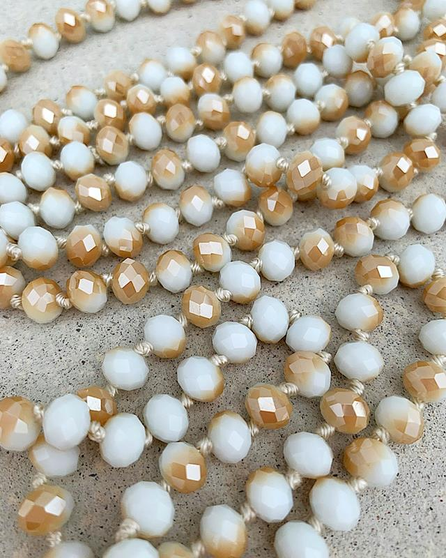 "Tan/White Mix Brea 60"" Beads,BREA-TANWHTMIX"