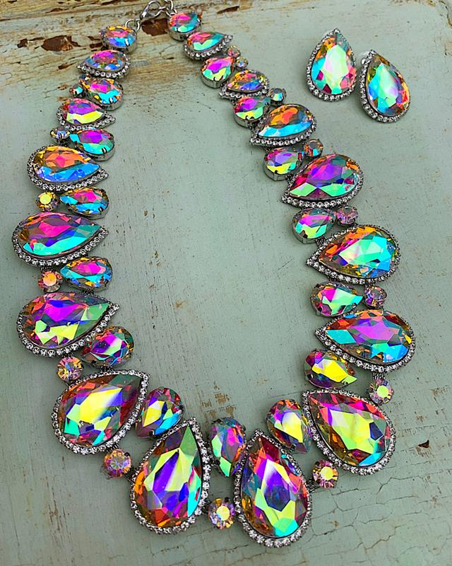 Celine Iridescent Necklace Set,CELINENSET-AB