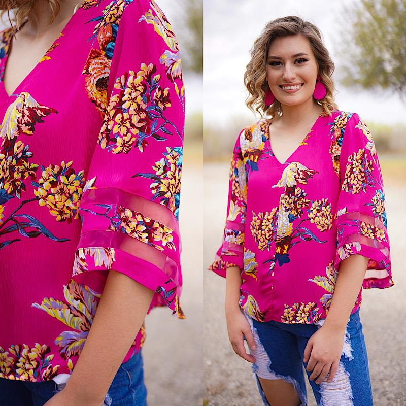 Emma Hot Pink Blouse,A5507-HOTPINK-S