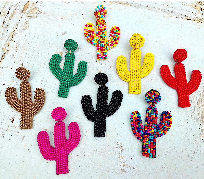 Beaded Cactus Earrings,CACTUSER-MULTI