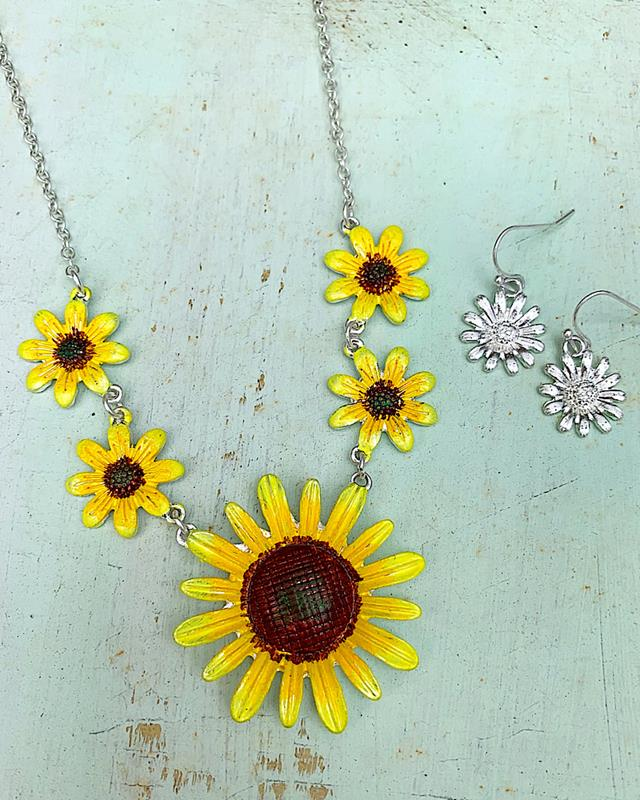 Simone Sunflower Necklace Set,SIMONESET