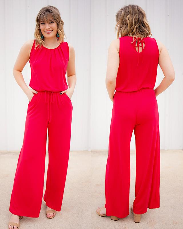 Jolie Red Jumpsuit,RP-2238-RED-M