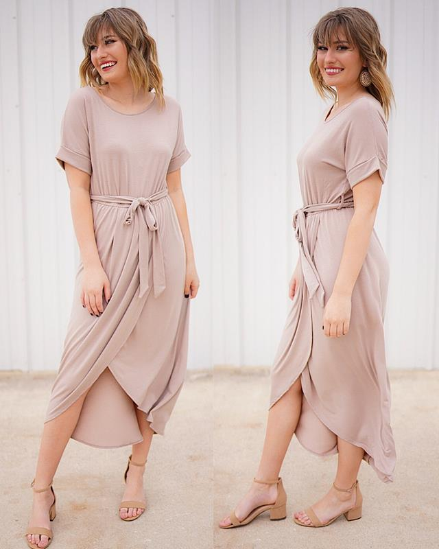 Lydia Taupe Dress,LYDIA-TAUPE-L